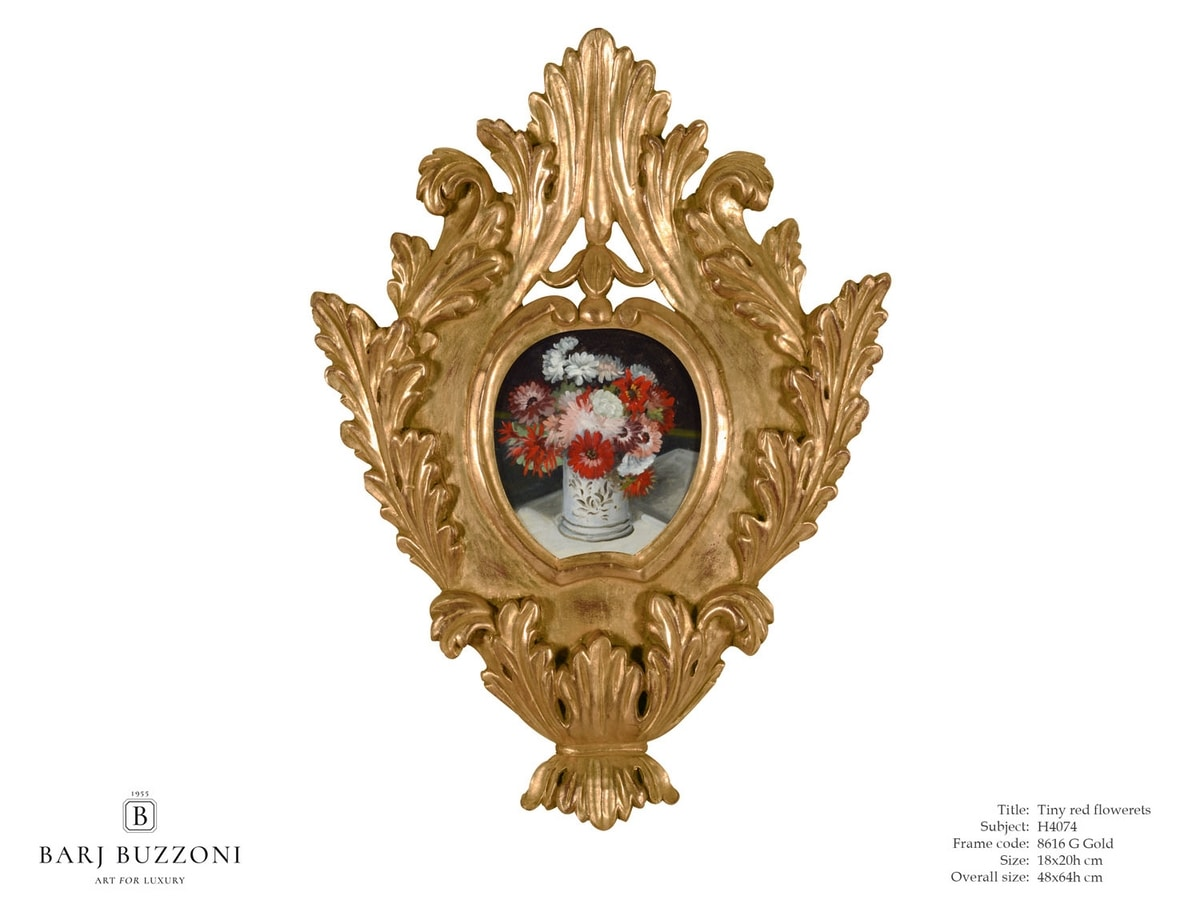 Tiny red flowerets – H 4074, Picture with gold leaf frame