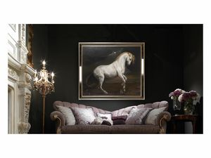 White horse – H 3698, Oil painting with elegant white horse
