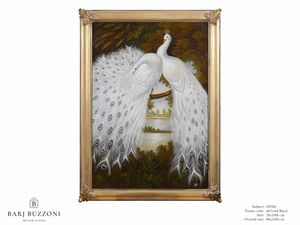 White peacocks dreaming � H 2326, Oil painting with white peacocks