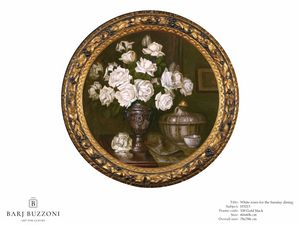 White roses for the Sunday dining – H 3213, Round picture, with white roses