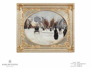 Winter's day – H 3951, Oil painting with decorative frame