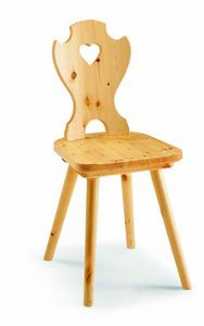 97 Curva cuore, Rustic chair in pine wood