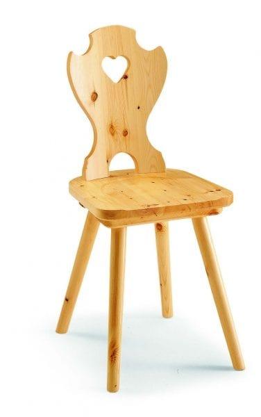 97 Curva cuore, Rustic chair in pine wood