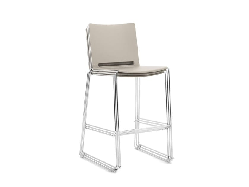 KUBIKA, Stool with seat and back in polypropylene, on a sled chrome frame