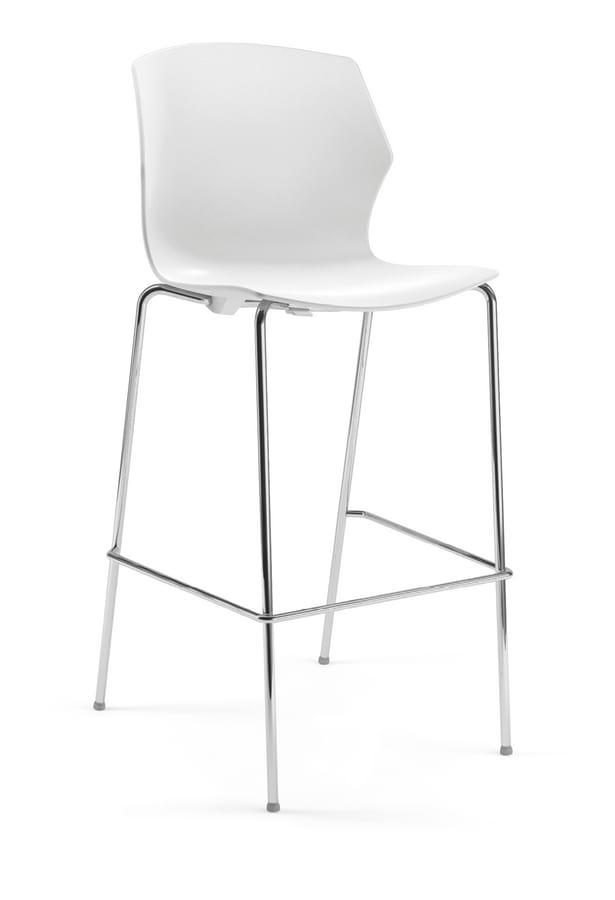 SALLY SG, Plastic stool with chrome legs