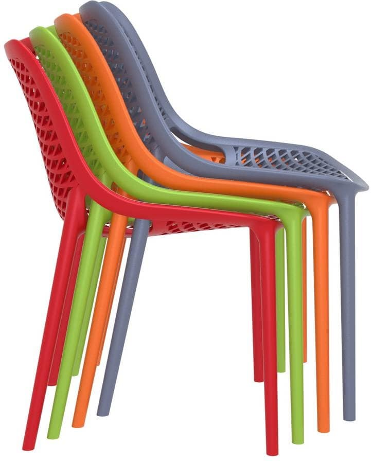 Alice - S, Chair with polypropylene structure suitable for outdoors, plastic stacking chair for garden
