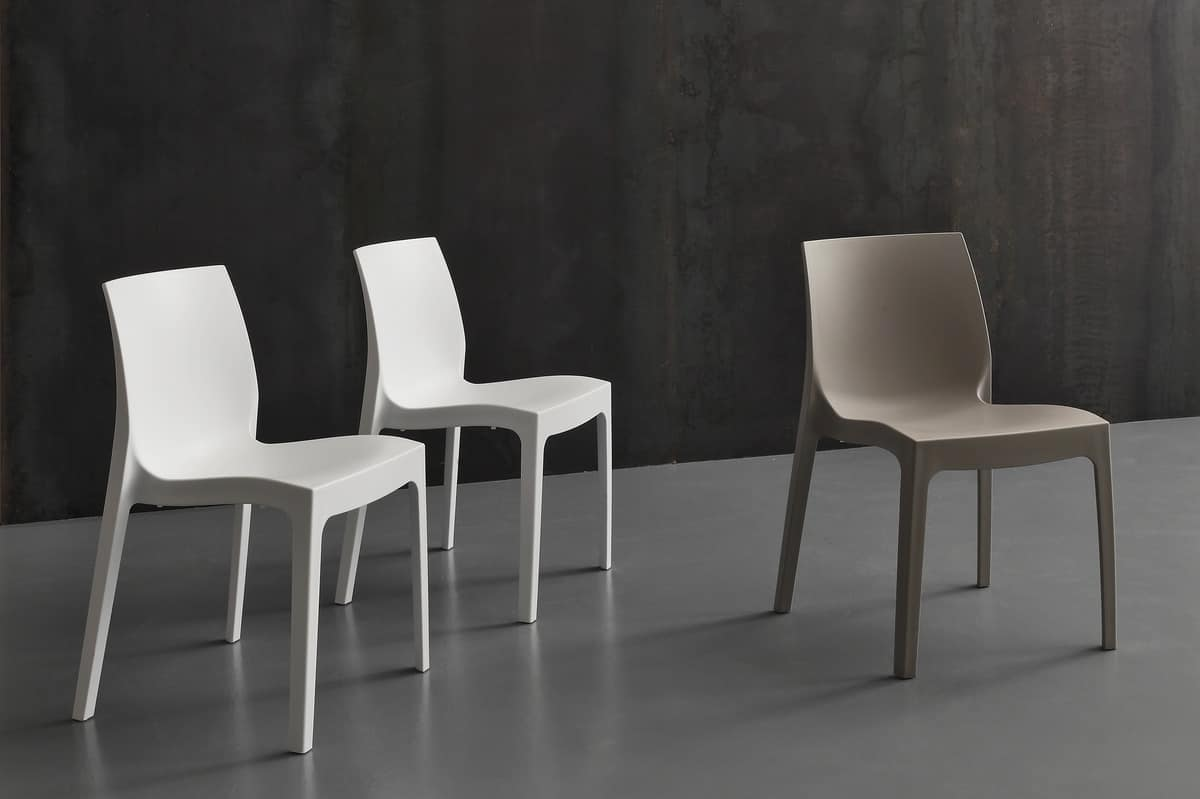 Art. 045 Falena Velvet, Stackable chair entirely in polypropylene, for bars