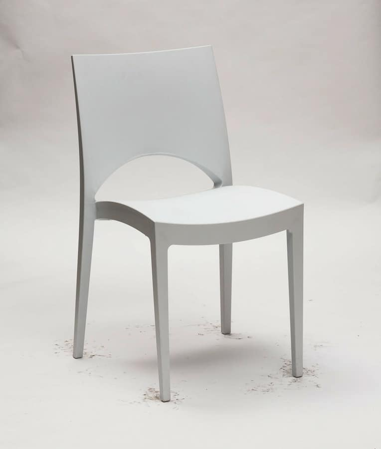 Art. 046 Natural, Polypropylene chair, for kitchen and contract use, stackable