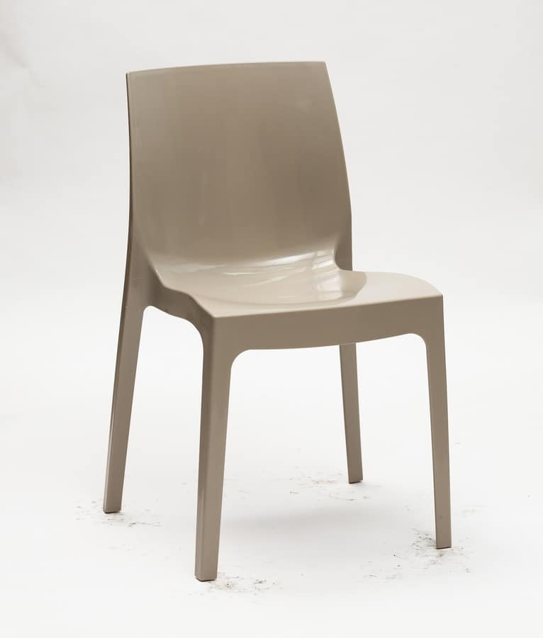 Art. 047 Falena, Plastic chair for the kitchen, stacking