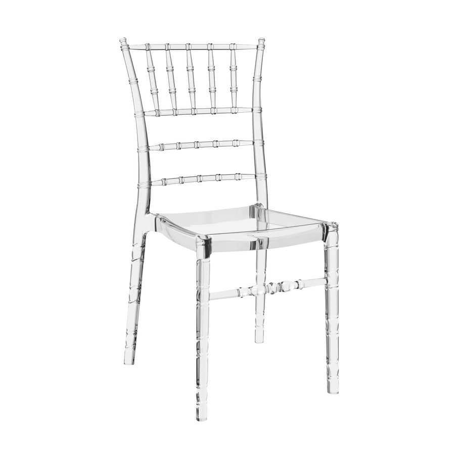 Chiavarina, Chairs in transparent polycarbonate for catering and events