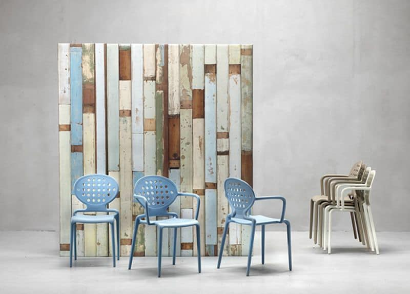 Colette B, Modern armchair in technopolymer, for gardens