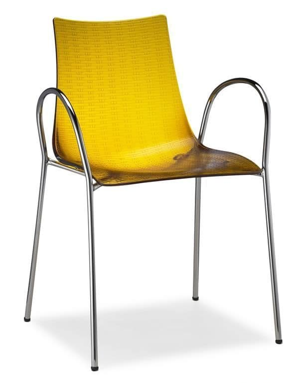 Dea Anti-Scratch 2620, Polycarbonate and metal armchair with scratch-resistant surface, stackable