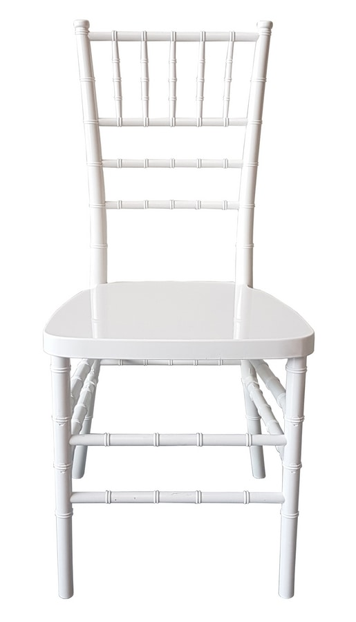Eco-Chiavari, Stackable white chairs for ceremonies