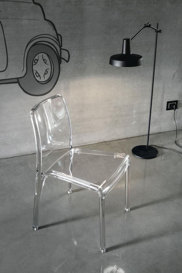 FUTURA SE800, Transparent plastic chair ideal for bars