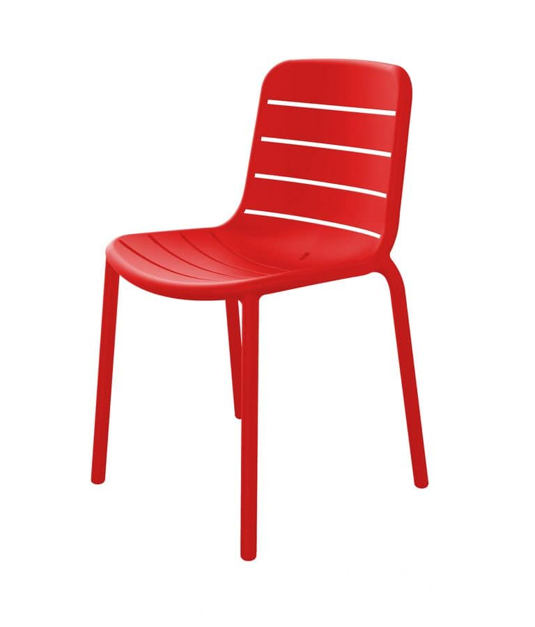 Guenda - S, Red  plastic chair suited for outdoors