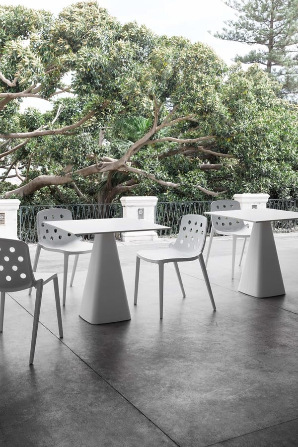 Isidora, Stackable polymer chair, perforated back