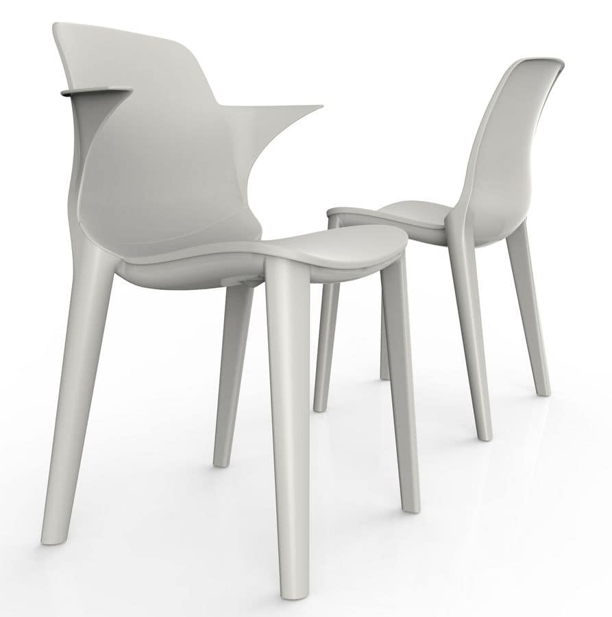 Lyssa - P, Plastic chair with armrests, UV resistant