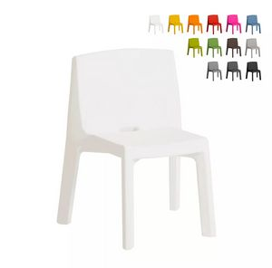 Modern design chair for premises home and garden SLIDE Q4 SD Q40085, Stackable chair in plastic