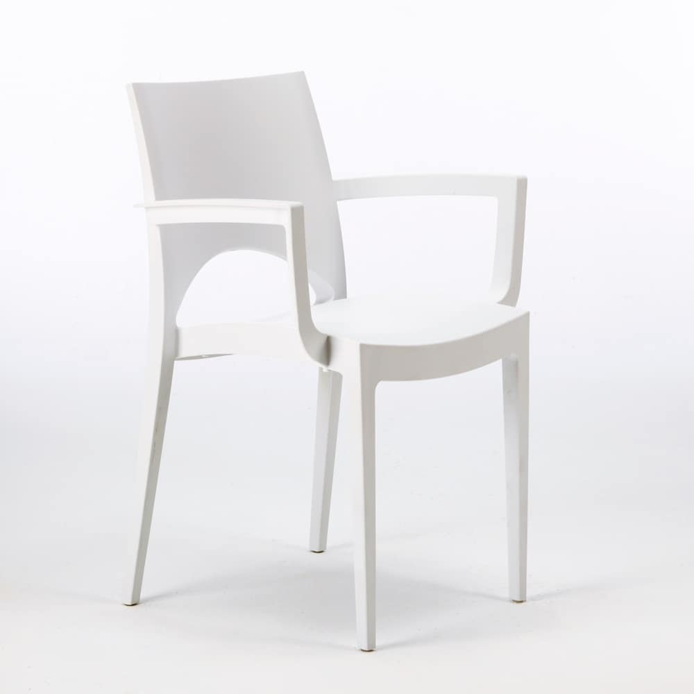 Outdoor chair stackable grand soleil Paris Arm – S6614, Plastic chair for outdoor bars and restaurants