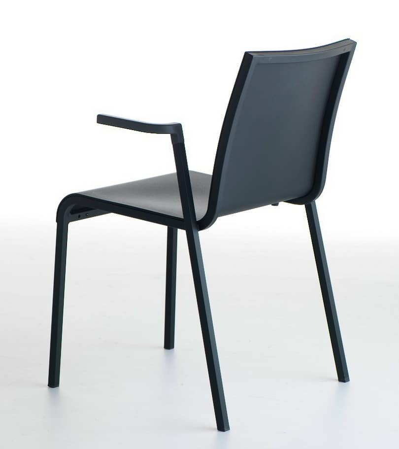 Persia P/PU, Plastic chair with armrests, stackable