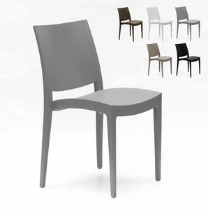 Polypropylene Dining Chair for Kitchen Living Room Bistro Grand Soleil Trieste S6225, Stackable chair in polypropylene