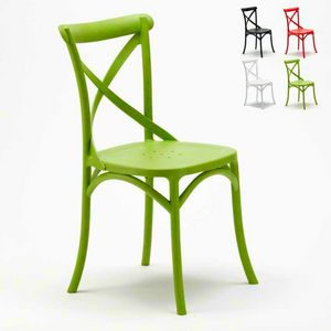 Polypropylene kitchen chairs VINTAGE Paesana Cross design - SV681PP, Chair with cross back