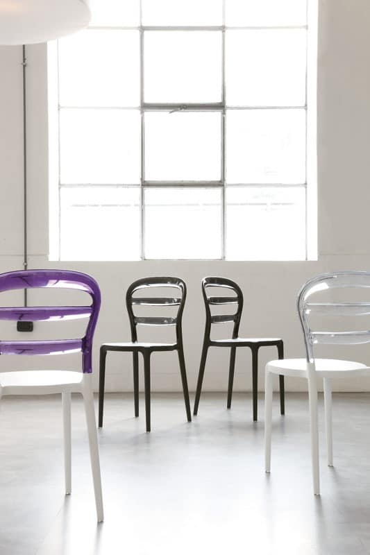 s34 lilly, Plastic stackable chair, for Pizzeria and Bar