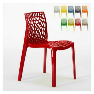 External inner polypropylene chair Gruvyer � S6316, Modern chair made of glossy polypropylene, stackable