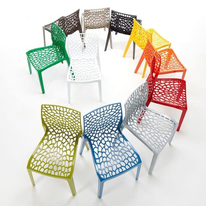 External inner polypropylene chair Gruvyer – S6316, Modern chair made of glossy polypropylene, stackable