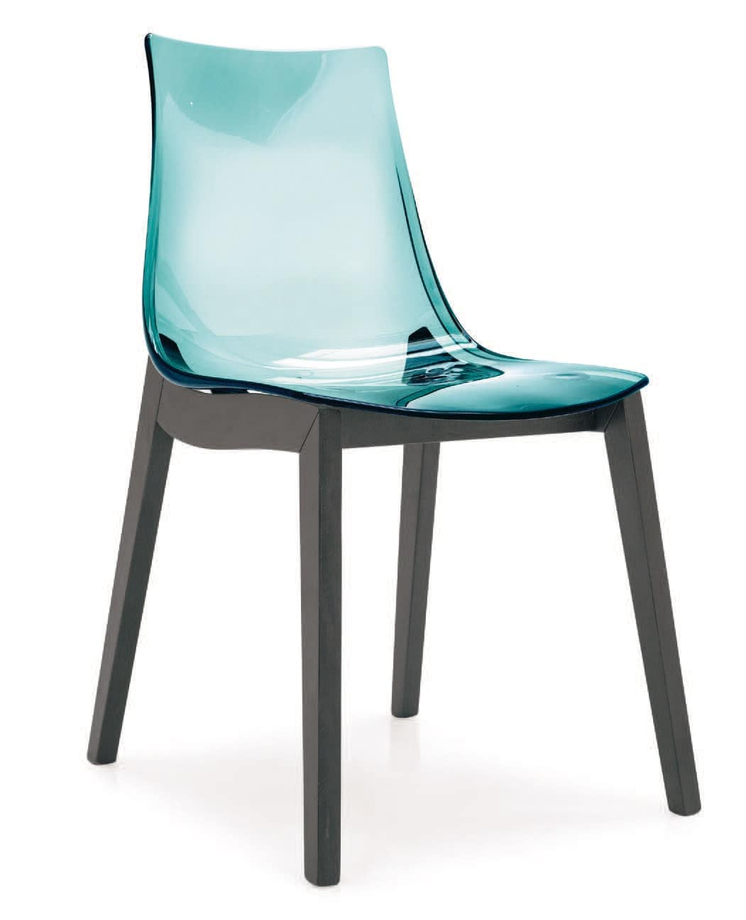 SE 1507, Polycarbonate chair with beech legs