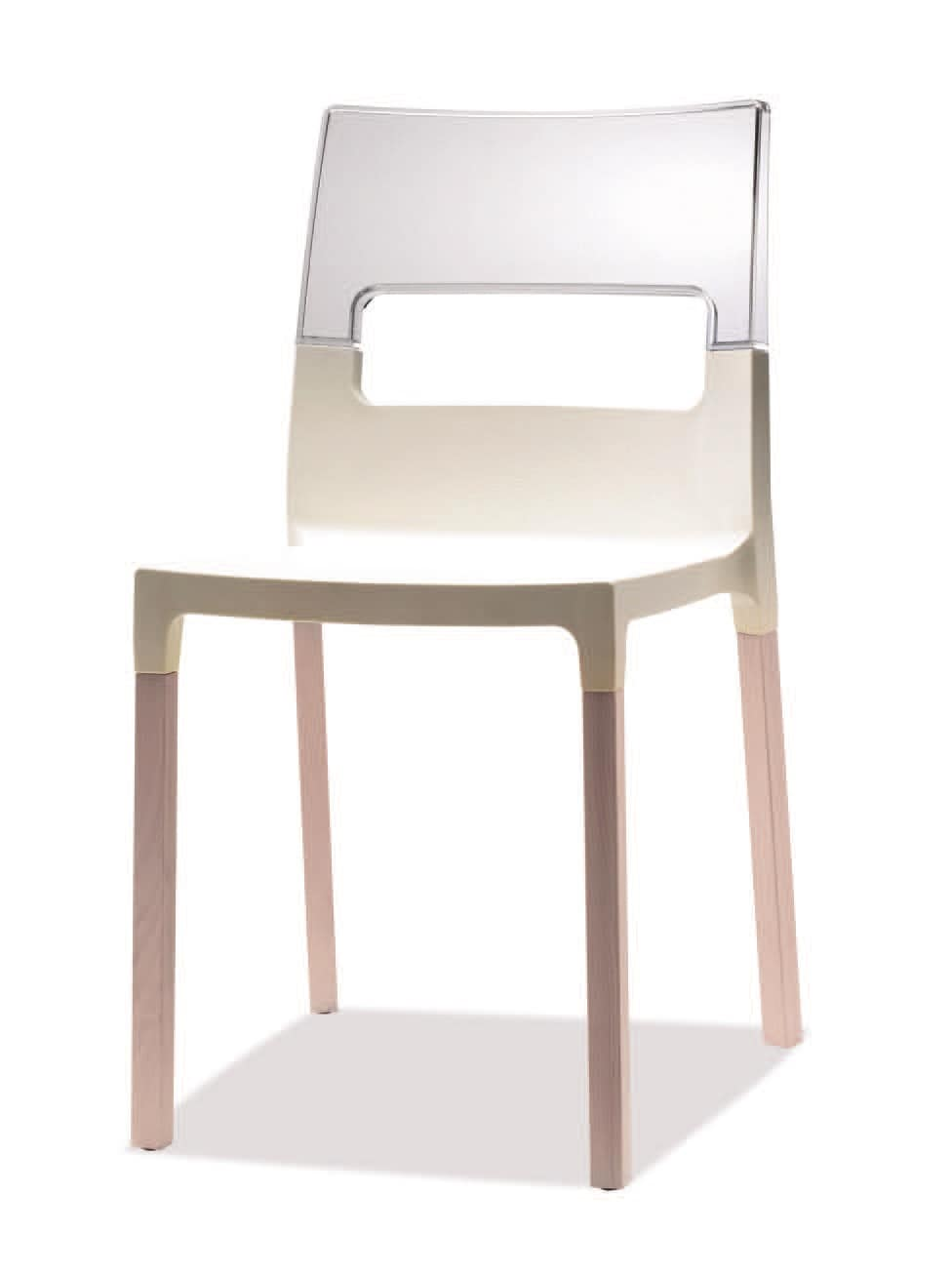SE 2015, Chair in beech and technopolymer, stackable and comfortable