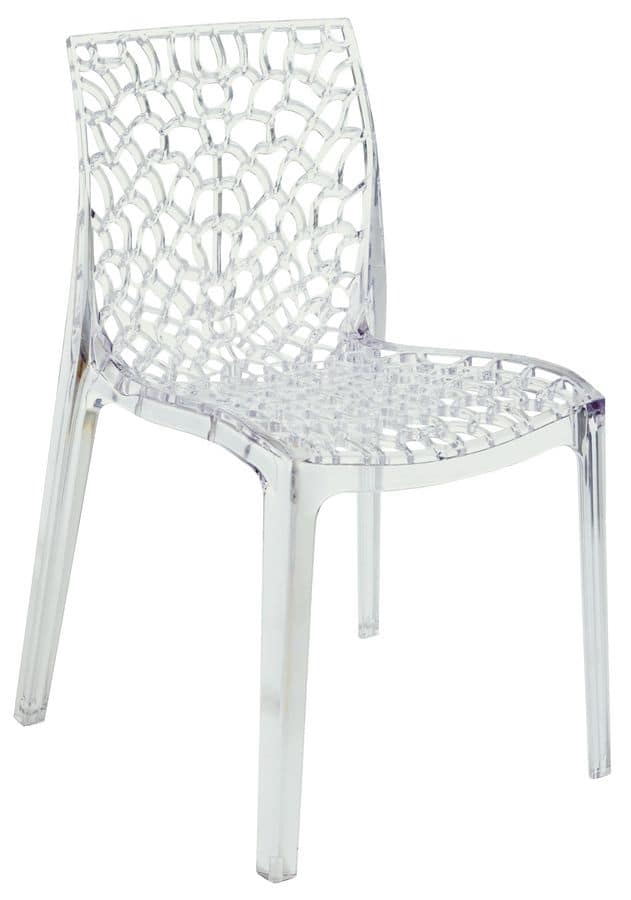 TR, Transparent Perforated Plastic Chair Suited For Outdoors