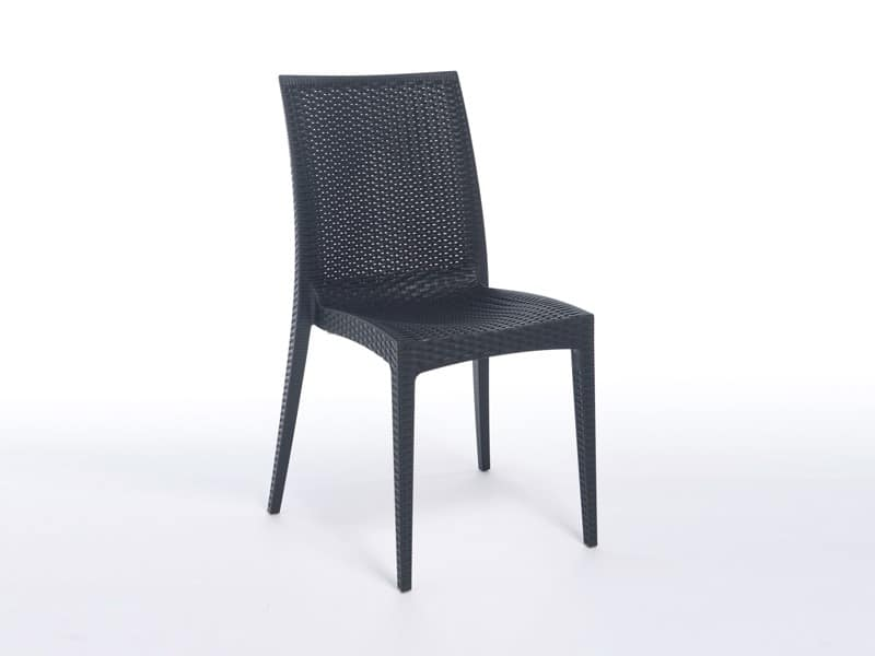 SE 6380, Lightweight plastic chair with fake interlacing, for bars
