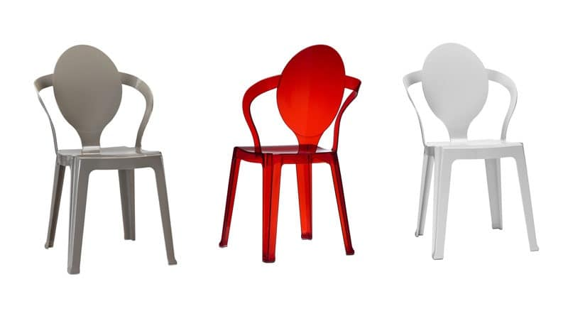 Spoon, Plastic chair with oval backrest, stackable