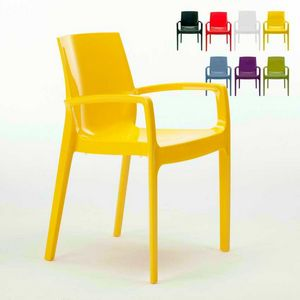Stackable chair with arms Cream – S6617, Polypropylene chair with armrests, robust
