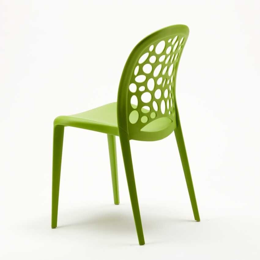Stackable garden bar kitchen chairs Design WEDDING HOLES MESSINA - SW609PP, Colored polypropylene chair for garden