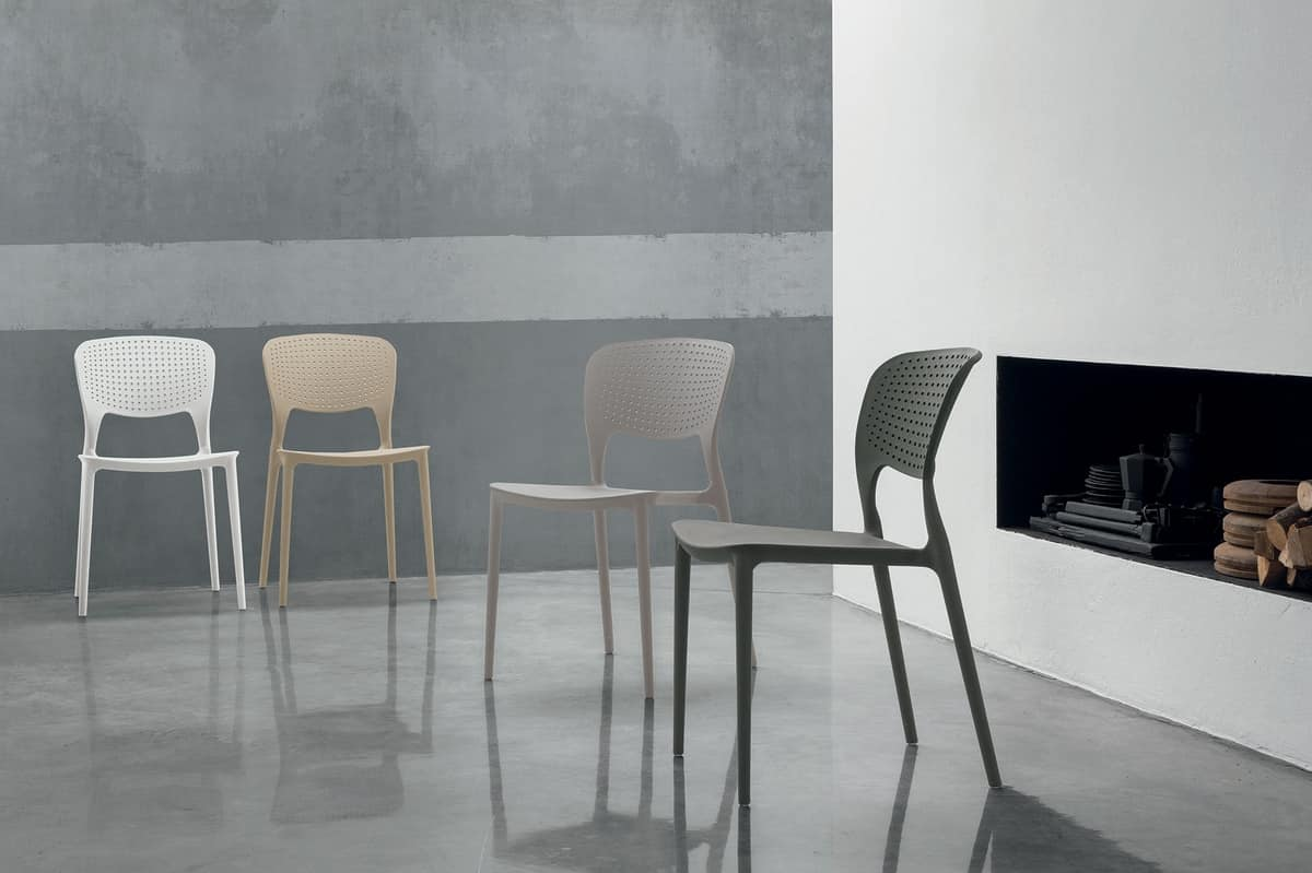 TOLEDO SE803, Plastic chair with hollow backrest