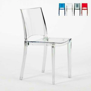 Transparent chairs for bar and stackable restaurant B-SIDE Grand Soleil - S6315TR, Transparent plastic chair for kitchen and bar