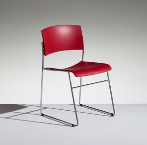 ZINIA, Stackable chair with sled base