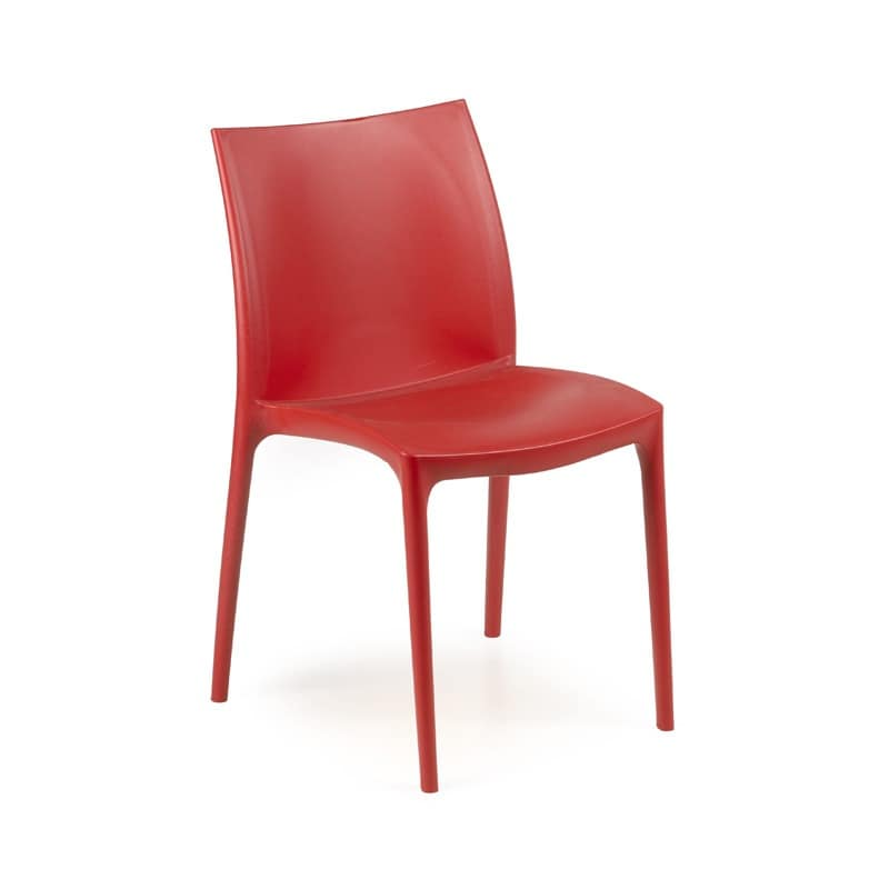 Zip, Chair with seat and backrest in plastic, stackable