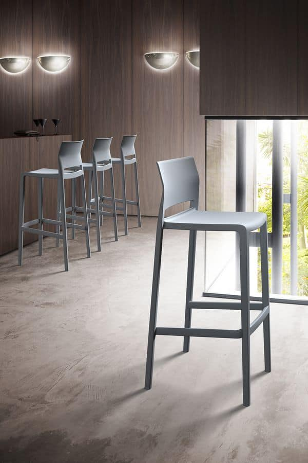 Bakhita Stool 66, Stackable stool in metal polymer co-injection