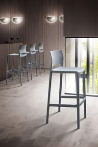 Bakhita Stool 76, Stackable stool in polymer, for bars