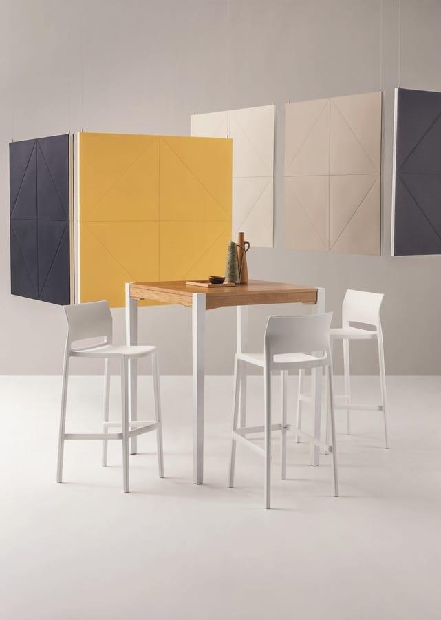 Bakhita Stool 76, Stackable stool in polymer, for bars