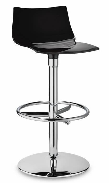 Day Twist, Swivel stool with fixed height, in steel and polycarbonate
