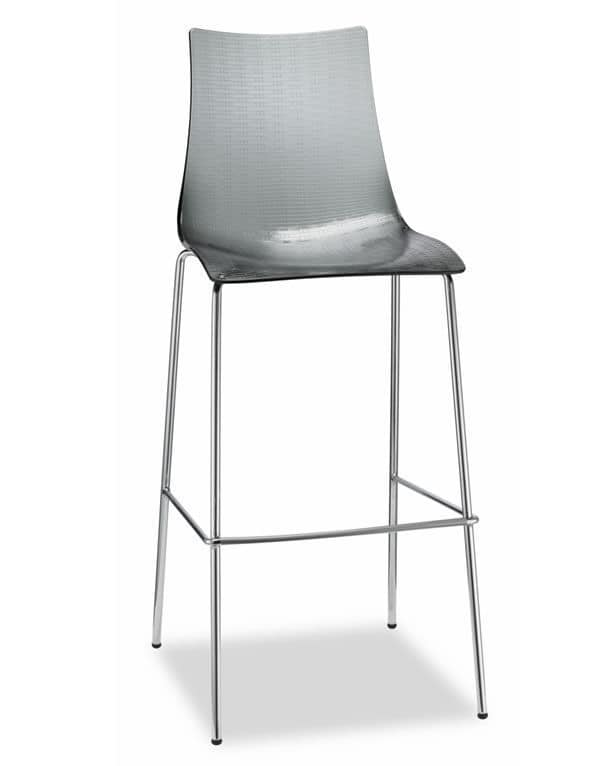 Dea H, Metal stool with scratch-resistant polycarbonate seat