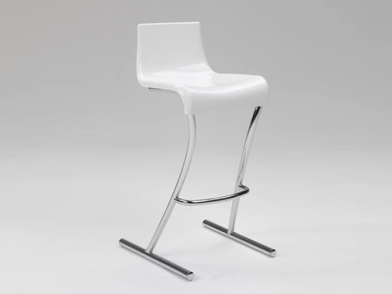 Flamingo 1, Stool with fixed height, chrome structure, for bar and kitchen