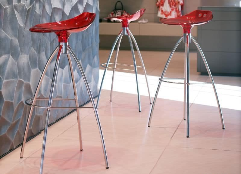 Frog, Modern stool made of metal and polycarbonate, fixed height