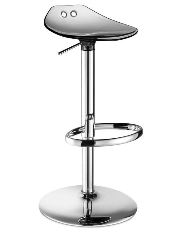 Frog Up, Swivel and adjustable stool in metal and polycarbonate