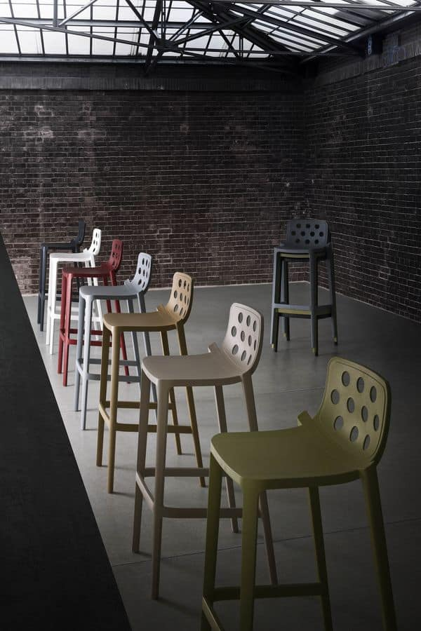 Isidoro 76, Stackable barstool, metal and polymer co-injection