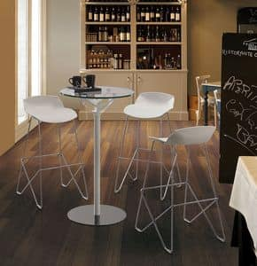 Kaleidos stool, Chromed steel Barstool with plastic seat